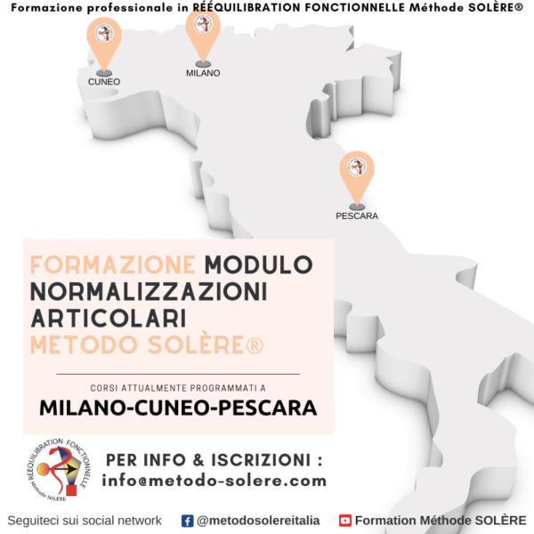 luoghi di formazione del metodo SOLÈRE MILANO PESCARA CUNEO