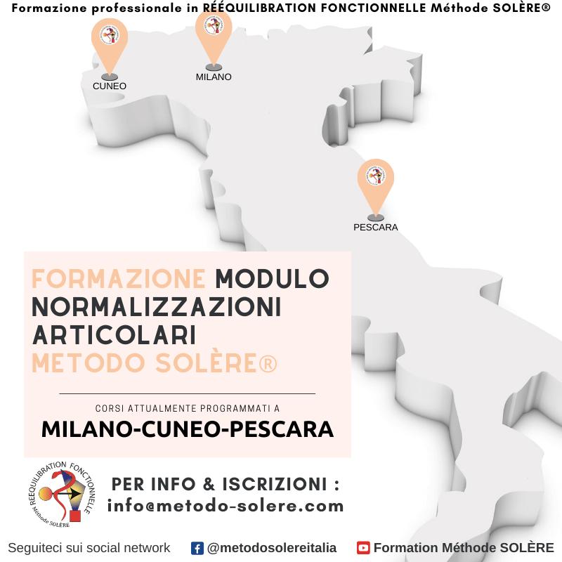 Modulo Normalizzazioni Articolari Méthode SOLÈRE® CORSI ATTUALMENTE PROGRAMMATI A CUNEO - MILANO - PESCARA